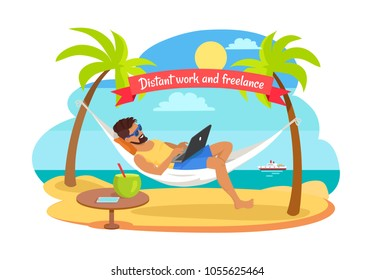 Distant work and freelance vector with man lying on hammock with notebook, table with tropical cocktail, freelancer among palm trees, ship on background