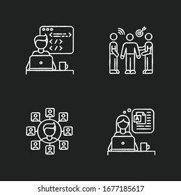 Distant works chalk white icons set on black background. Web developer and public relations officer, SEO specialist. Branding, blogging and programming. Isolated vector chalkboard illustrations