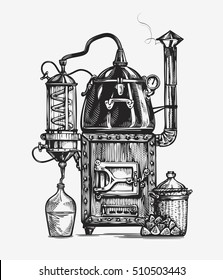 Distillation apparatus sketch. Hooch vector illustration