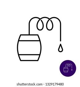 Distillation line icon. Distiller vat with spring pipe cooler and liquid drop. Adjustable stroke.