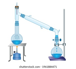 Distillation vector illustration. Drawing with boiling and concentrator bottles and equipment.