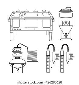 Distillery equipment vector set