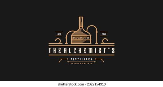 Distillery logo design with cool line art shape Premium vektor