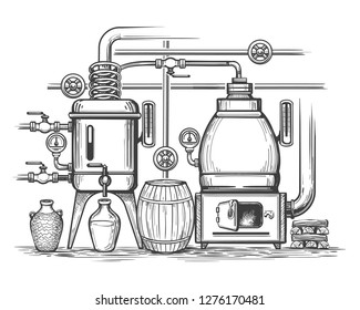Distillery sketch. Retro stillness gin or whiskey alcohol distillation making equipment, whisky moonshine engraving alembic, vector illustraion
