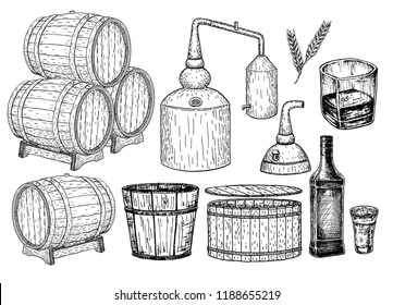 Distillery. Vector hand drawn whisky production elements. Whiskey production process. Wooden barrel with whiskey. Sketch.