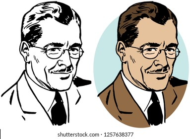 A distinguished businessman with a mustache and glasses.