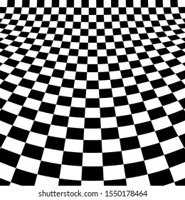 Distorted checker board. Abstract monochrome background. Trendy pattern for prints, web pages and textile design