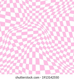 Distorted checkered pattern in baby pink. Vector seamless pattern