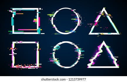Distorted glitch frame. Glitched circle, square and triangle frames. Music distortion logo, tv distortion abstract geometry dynamic shapes. Digital noise defect vector isolated icons elements set