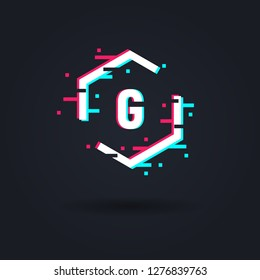 Distorted glitch logo. Hexagon frame in distorted glitch style. Abstract logo template. Modern trendy element for design Logo, sign, label, emblem.