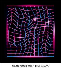 Distorted neon laser mesh on dark background. Synthwave/retrowave style   vector illustration.