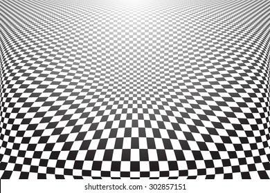 Distorted textured surface. Abstract checked background. Vector art.