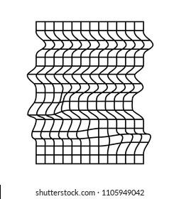 Distorted and warped black grid on white background. Vaporwave / cyberpunk style.