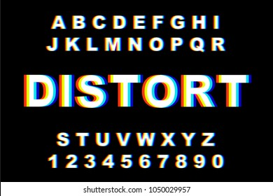 Distortion Alphabet.Vector distorted glitch font. Trendy style lettering typeface. Latin letters Glitch typeface. Green and red channels. Trendy style distorted vector illustration