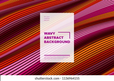 Distortion of Stripes. Abstract Cover with Vector Warped Lines, Flow. Volumetric Folds. Colorful 3d Surface. Movement Effect Made Using Blend and Mesh Tools. Optical Illusion of Distortion of Space. - Shutterstock ID 1136964155