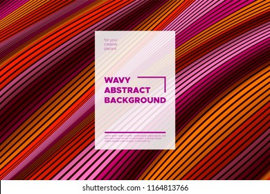 Distortion of Stripes. Abstract Cover with Vector Warped Lines, Flow. Volumetric Folds. Colorful 3d Surface. Movement Effect Made Using Blend and Mesh Tools. Optical Illusion of Distortion of Space.