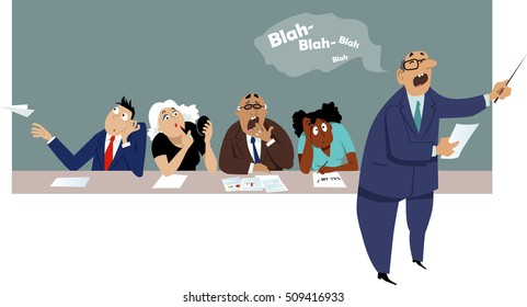 Distracted and bored employees sitting at a business presentation, EPS 8 vector cartoon, no transparencies