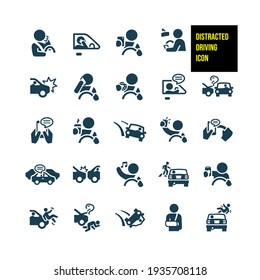 Distracted Driving Icons - stock illustration. distracted drivers eating, drinking coffee, texting, talking on the phone, using mobile devices, listening to music, drinking alcohol, and taking selfies