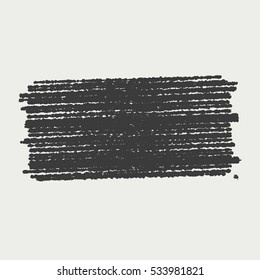 Distress black crayon texture. Grunge shaded banner pencil background. Chalk stroke shape element. Hatch icon creative template. Original logo blank detail. High detailed quality.  EPS10 vector.