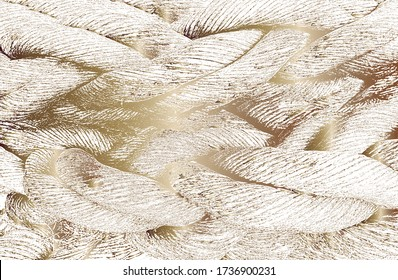 Distress grunge vector texture of golden wicker rope. Black and white background. EPS 8 illustration