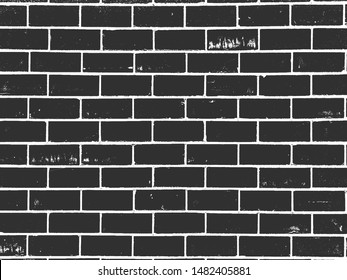 Distress old brick wall texture. Black and white grunge background. EPS8. Vector illustration.