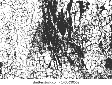 Distress old rusted peeled, scrathed metal vector texture with cracked paint. EPS8 illustration. Black and white grunge background.