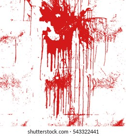 Distress Overlay Drip Dirty Paint Red Color Texture For Your Design. EPS10 vector.