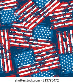 Distress painted American flag seamless pattern