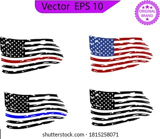 Distressed american flags set, eps10, transparent background, high resolution,