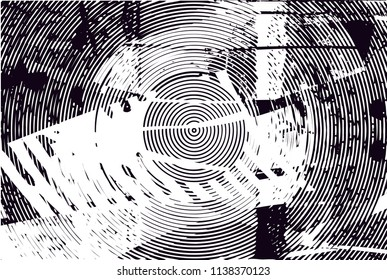 Distressed background in black and white texture with circles, spots, scratches and lines. Abstract vector illustration