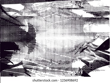Distressed background in black and white texture from photo of misty lake with dots, spots, scratches and lines. Abstract  vector illustration