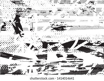 Distressed background in black and white texture with dots, spots, scratches and lines. Abstract vector illustration