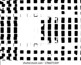 Distressed background in black and white texture with dots, spots, scratches and lines. Abstract vector illustration.