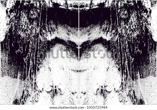Distressed background in black and white texture with  dark spots, scratches and lines. Abstract vector illustration