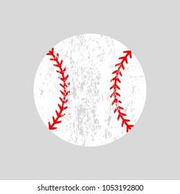 Distressed baseball ball. Softball. Vector silhouette. Vector icon isolated