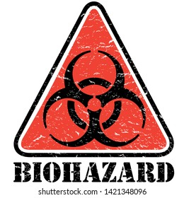 Distressed Biohazard Triangle Sign Biological waste and infectious disease symbol with grunge effects.