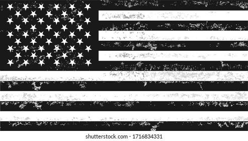 Distressed Black and White American Flag