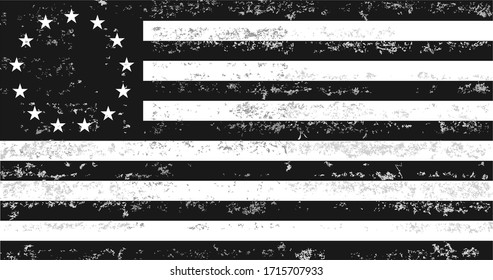 Distressed Black and White Betsy Ross American Flag