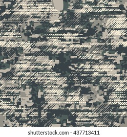 Distressed camouflage pattern seamless vector background tile