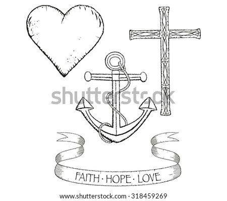 Distressed Collection Symbols Faith Hope Love Stock Vector Royalty