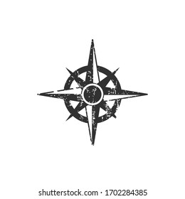 distressed compass rose, grunge effect. Stock Vector illustration isolated on white background.