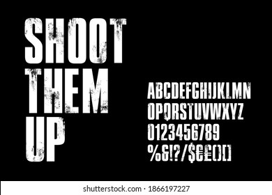 Distressed condensed, bold alphabet for post-apocalyptic titles. Vector typography illustration on black background - Shutterstock ID 1866197227
