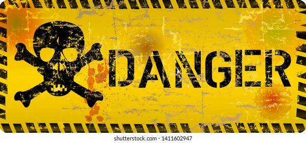 distressed danger sign with skull and grunge texture, cyber crime, computer virus symbol, vector illustration