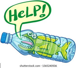 Distressed green fish begging for help when keeping trapped inside a plastic bottle. It's sticking its tongue out, showing its sharp teeth and opening its mouth to show a speech bubble asking for help