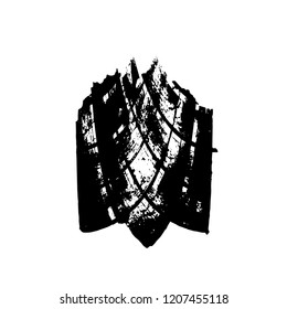 Distressed Grunge Brush Stroke Template. Black Paint Vector Texture. Dirty Creative Design Overlay Elements