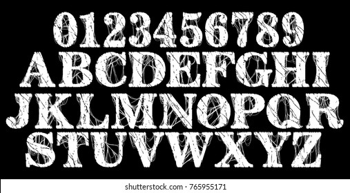 Distressed grunge font.Vector numbers and alphabet.