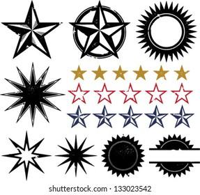 Distressed Grunge Star Design Elements