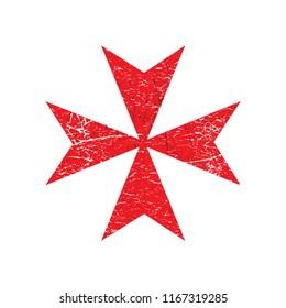 Distressed Grunge style vector illustration: Maltese Cross icon.