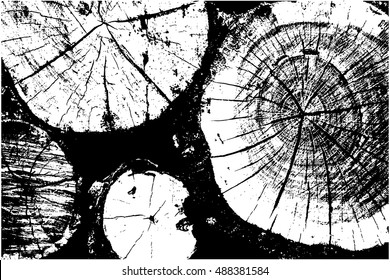 Distressed halftone grunge vector texture - wood trunk background. Tree rings - black and white. Vector illustration EPS 8
