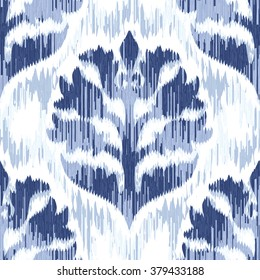 Distressed ikat medieval damask pattern seamless vector background tile